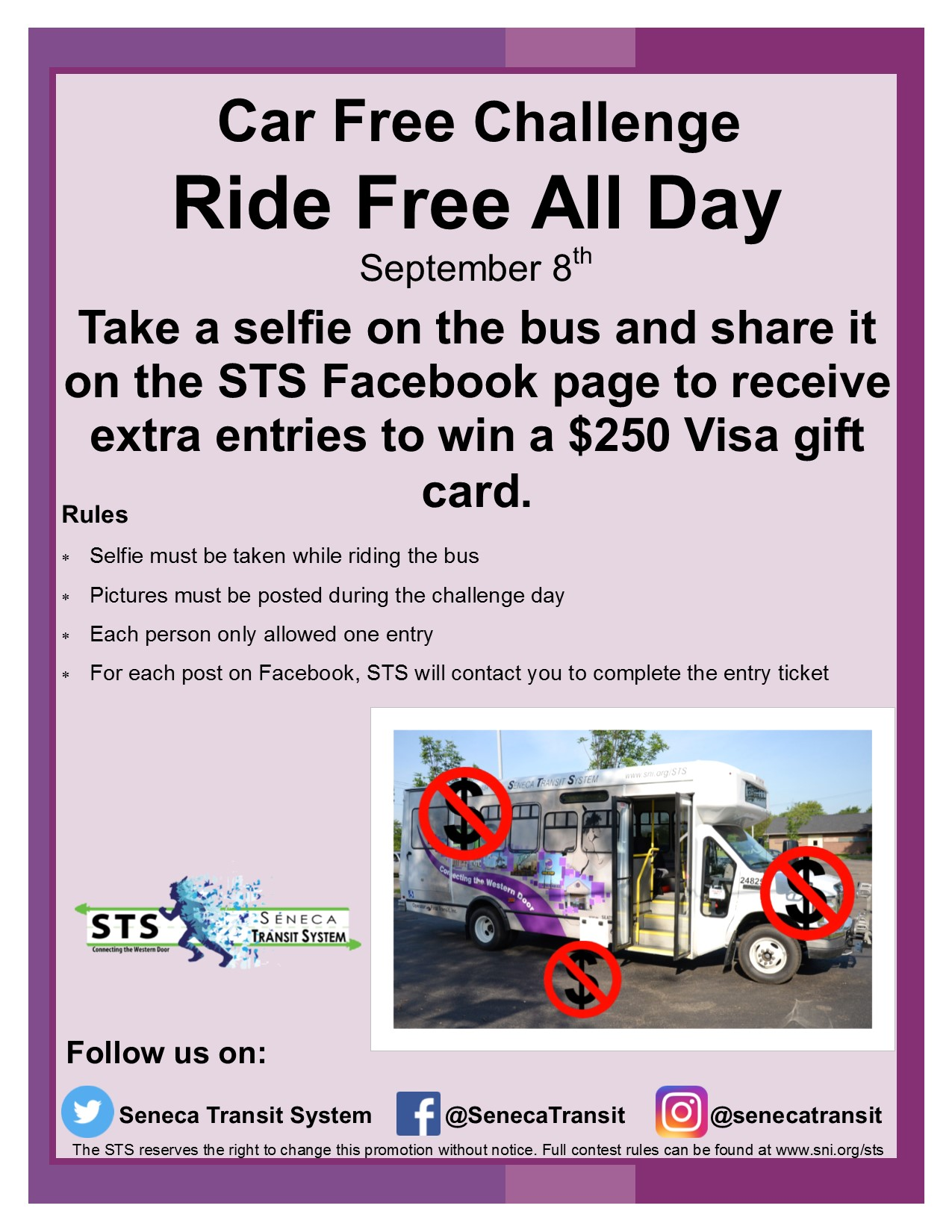 Seneca Transit Promo - Ride Free All Day on September 8th.