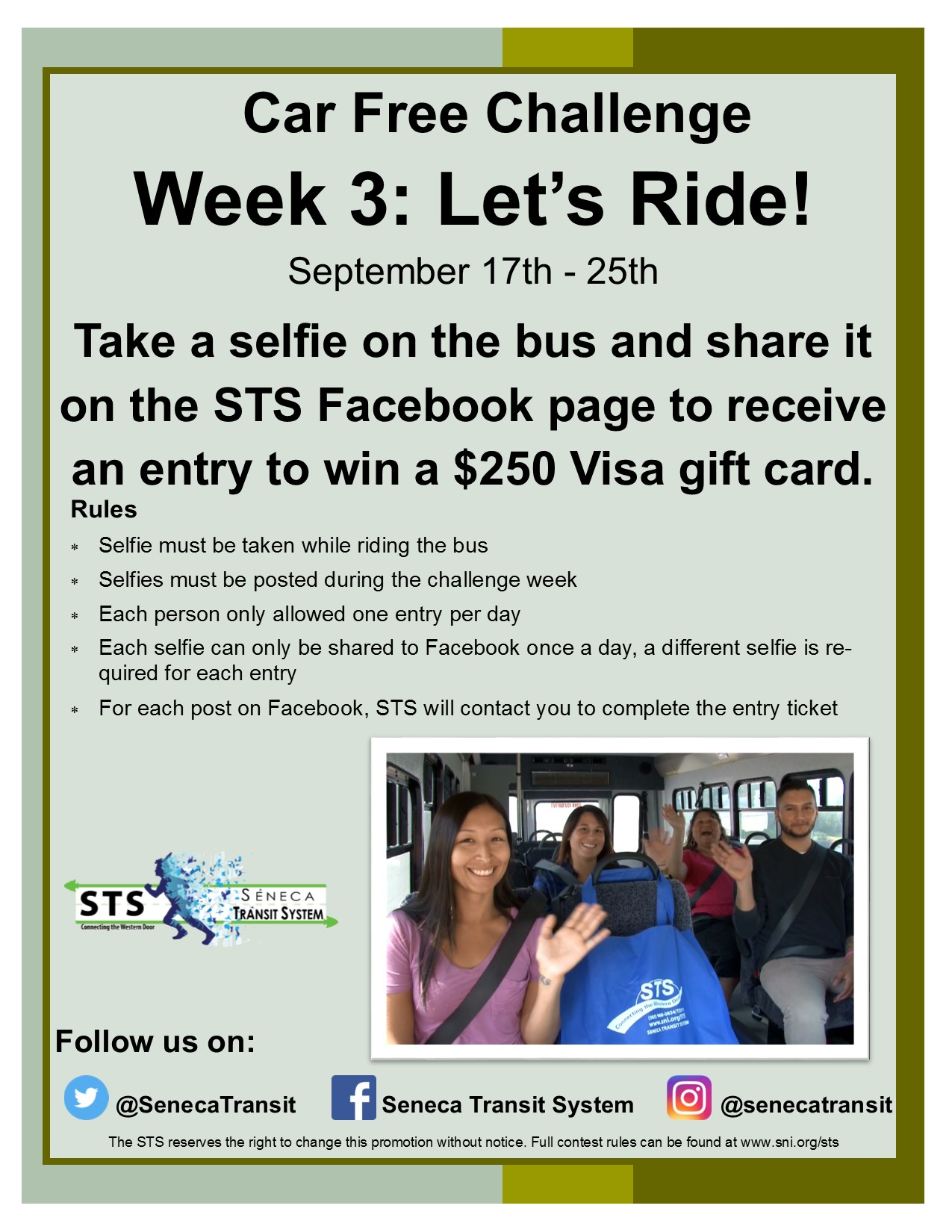 Seneca Transit Promo - Let's Ride! September 17th - 25th.