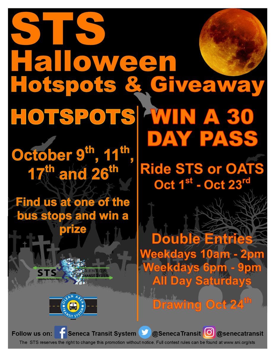 Seneca Transit System Promo - Halloween Hotpots & Giveaway throughout the month of October.
